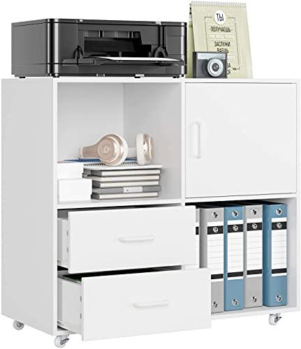 Büroschrank mobiler Aktenschrank Weiß Standschrank Druckerschrank Holz Rollcontainer mit 2 Schubladen Mehrzweckschrank Sideboard auf Rollen 75x39 x80cm