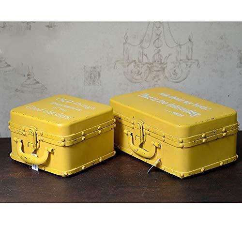 LiChaoWen - Maleta decorativa retro de estaño con diseño vintage antiguo para fotografía y fotografía, organizador de joyas (color: amarillo, tamaño: 2 unidades)