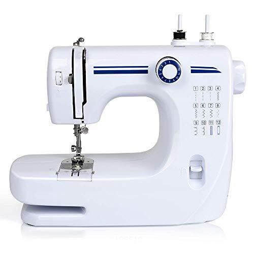 Brands Joody - Máquina de coser eléctrica multifunción para principiantes, 12 puntos, doble aguja con pedal, máquinas de coser domésticas portátiles