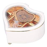 デスクトップの装飾オルゴール漫画回転オルゴールオルゴールの装飾品ホームオフィスの装飾のためのハート型の誕生日プレゼント(YL2036 Peach Heart Medium*White)