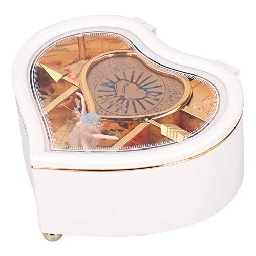 Caja de música, Adornos de Caja de música Hermosos y únicos en Forma de corazón, decoración del hogar para Regalo de San(YL2026 Peach Heart Large*White)