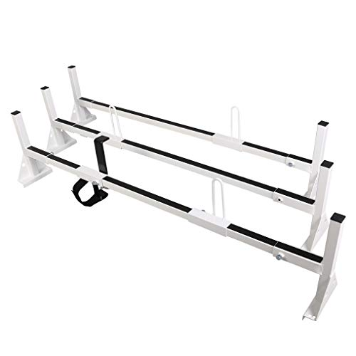 ECOTRIC Universal 3 Bars Van Roof Mount Full Size Steel Ladder Rack for Chevy Express Ford GMC Savana