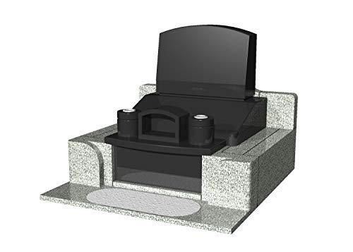 【墓石・お墓】御影石(墓石 外柵) 石のサンポウ オリジナル洋型墓石 A-Y3 基礎工事 字彫り(表面 背面 戒名2 家紋)付き 据付工事含む (黒)