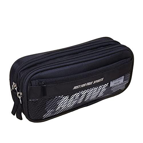 Funda de lápiz Bolsa de almacenamiento de papelería Multi-capa, caja de lápices de gran capacidad, bolsa de lápiz multifuncional Cosmética de bolsa con cremallera-negro / azul bolso de bolsa de pluma