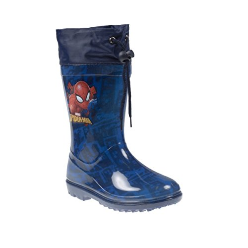 Fashion4Young 11311 Kinder Gummistiefel Regenstiefel Marvel Spiderman m. Kordelzug (22, blau)