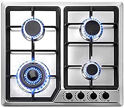 OASD 22?x20? Built in Gas Cooktop 4 Burners Stainless Steel Stove W/NG/LPG Conversion Kit Thermocouple Protection