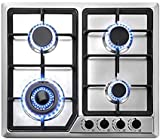 OASD 22″x20″ Built in Gas Cooktop 4 Burners Stainless Steel Stove W/NG/LPG Conversion Kit Thermocouple Protection