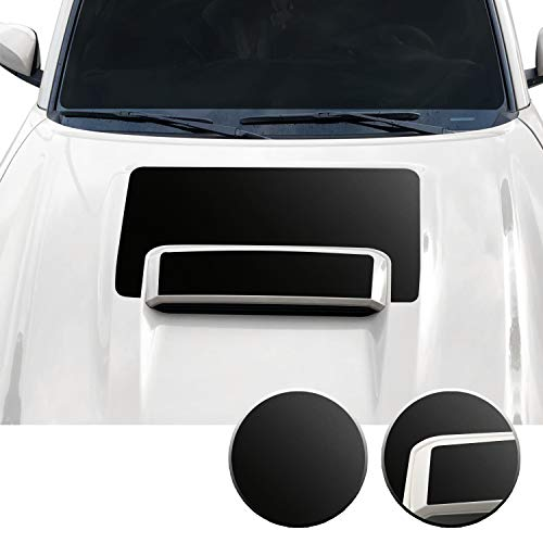 Optix Hood Scoop Vinyl Overlay Decal Wrap Trim Inserts Sticker Compatible with and Fits Tacoma TRD Sport 2016 2017 2018 2019 2020 - Metallic Matte Chrome Black