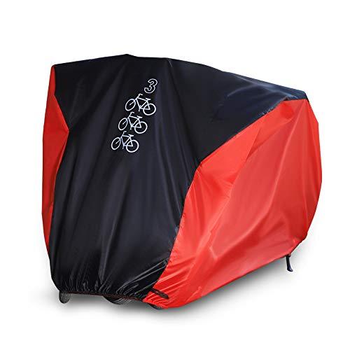 NEVERLAND Fahrradabdeckung Fahrradgarage Fahrradschutzhülle 190T Schutz Cover Winterfest Staub Regen UV-Schutz für 3 Fahrräder