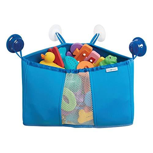 mDesign Organizador de Juguetes para niños – Cesta para Ducha y bañera con ventosas – Estante rinconero de Neopreno para Guardar Juguetes, Accesorios para bebés y Accesorios de Ducha – Azul