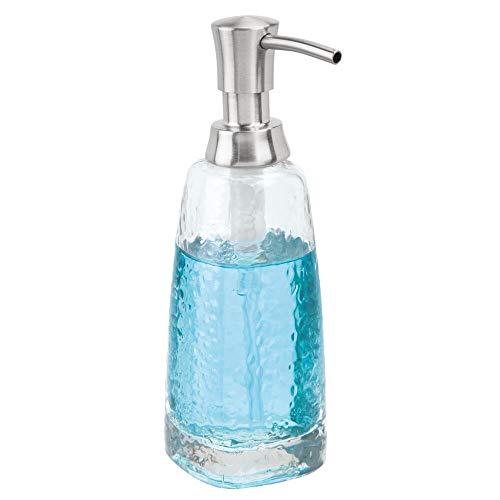 mDesign Modern Glass Refillable Liquid Soap Dispenser Pump Bottle for Bathroom Vanity Countertop, Kitchen Sink - Holds Hand Soap, Dish Soap, Hand Sanitizer & Essential Oils - Clear/Brushed
