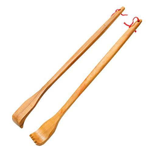 ZTFRI 2 Stück Holz Rückenkratzer Kratzhand Rückenkratzer Handheld Manuell Rücken Kratzer für Rücken Langer Rückenkratzer Back Scratcher - Massagegerät zum Rücken Kratzen