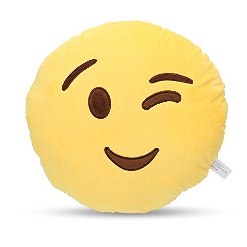 Emoji Round Cushion Pillow, by Lynnwang Design (One WInking Eye)
