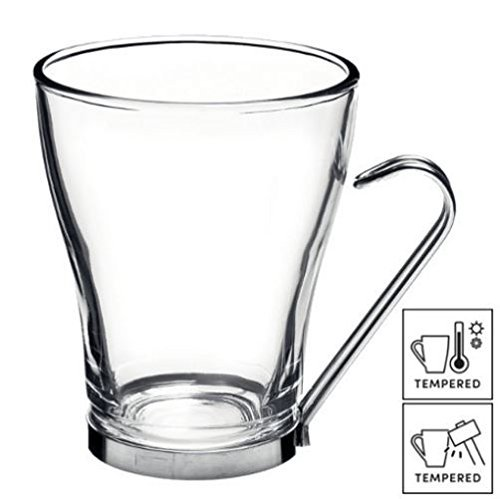 6 X Grande tasse à café/thé/Latte Verres avec poignées en acier inoxydable 32 cl (11 ¼ oz)