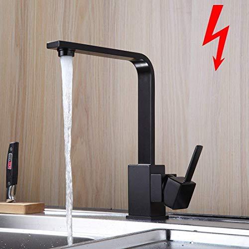 Aimadi Niederdruck Küchenarmatur Wasserhahn Küche Niederdruckarmatur Spüle Küchenspüle Mischbatterie Spültischarmatur Geschirrbrause Schwarz