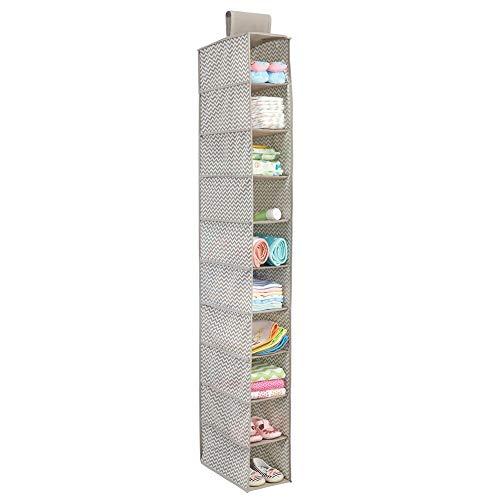 mDesign Colgador de tela – Perfecto organizador de tela para el cuarto de los peques o como zapatero de tela – Con 10 compartimentos – Color: topo/natural