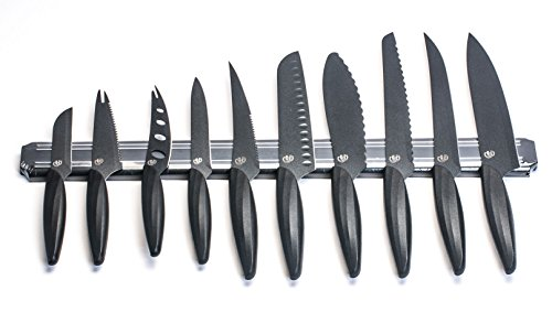 """GELA EK-0848 10 Piece Knife Set With Magnetic Bar, 3"""", Black"""