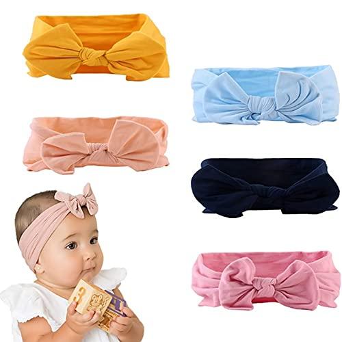 Turbantes Bebe, 5 Piezas Diademas Bebe Niñas con Nudo Turbante Color sólido Elástico Venda De Pelo Bebe