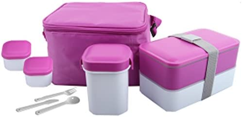 Insulated Hot & Cold 17-Pc Lunchbox 1.2-LTR W/Travel Cup,Sauce Containers,Reusable Utensils