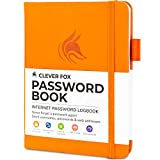 Clever Fox Password Book with tabs. Internet Address and Password Organizer Logbook with alphabetical tabs. Small Pocket Size Password Keeper Journal Notebook for Computer & Website Logins (Orange)