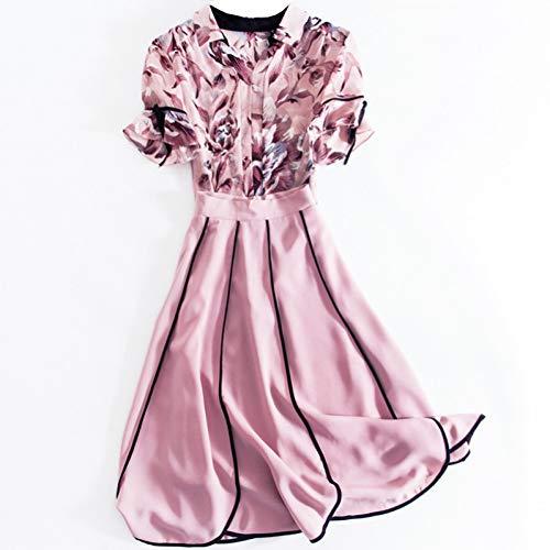 BINGQZ Cocktailjurken Zomer roze temperament dames kleine geur v-hals print shirt met ruches tweedelige pak jurk vrouw