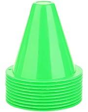 MAGT Cono De Tráfico De Entrenamiento Deportivo De Plástico De 3,35 Pulgadas (Juego De 10) - para Niños Inicio Fútbol Fútbol De Entrenamiento 5 Colores (Color : Verde)