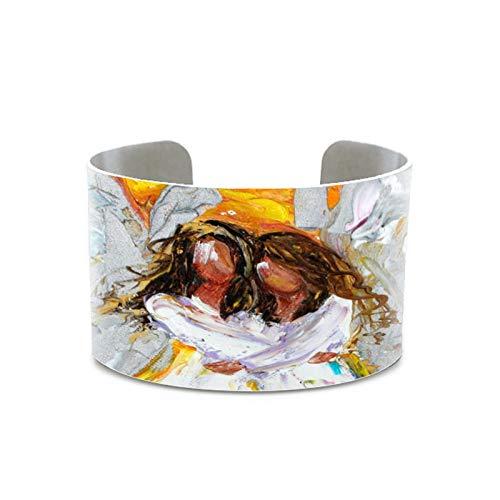 CLEARNICE Angel Abrazos Pintura Ángel Arte Original Aceite Abstracto Pulsera Nueva Orleans Luna Impresión Pulsera Hecha A Mano para Los Hombres Mujeres