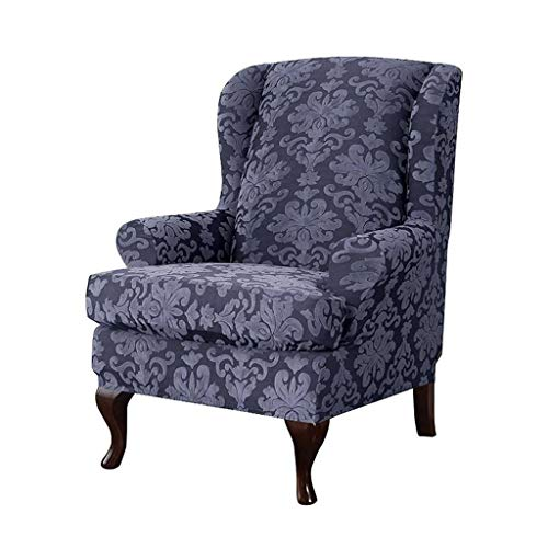Jacquard 2 Piece Wing Chair Slipcovers, Durable Soft High Stretch Furniture Protector Machine Washable Wingback Armchair Cover -gray-2Piece