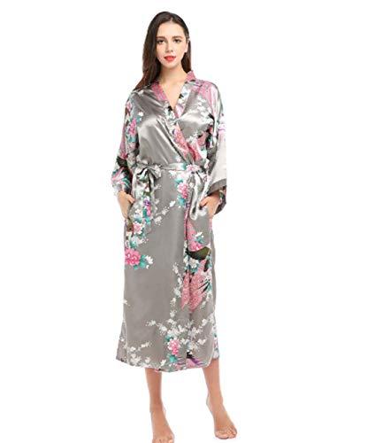 XMZFQ Bata de casa para Mujer camisón Largo Bata de Seda Kimono Tirantes camisón Albornoz Ropa de Dormir Cuello en V Ropa de Dormir Pavo Real Pijamas de seducción Sexy,Gray,XL