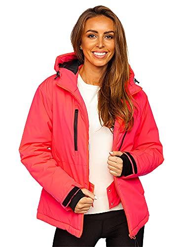 BOLF Damen Winterjacke Skijacke Snowboardjacke mit Reißverschluss und Kapuze Bündchen Outdoor Freizeit HH012 Rosa-Neon XL [D4D]