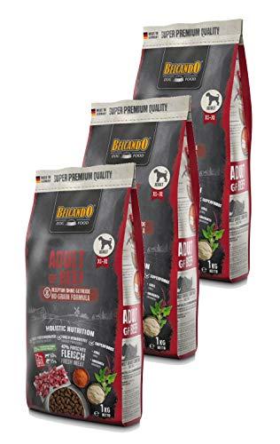 Belcando Adult GF Beef getreidefreies Hundefutter | Trockenfutter ohne Getreide | Alleinfuttermittel für ausgewachsene Hunde ab 1 Jahr 3X 1 kg
