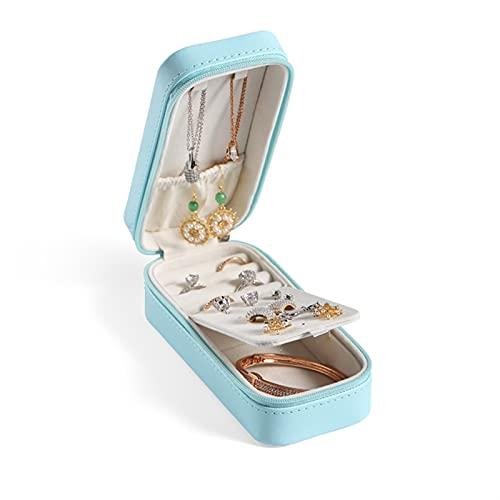 kengbi Caja de almacenamiento de joyería de moda y elegante, pequeña caja de almacenamiento de joyas de viaje para niña, portátil, de piel sintética, para anillos, collares, joyas (color: azul nuevo)