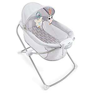 ​Fisher-Price Soothing View Projection Bassinet – Fawning Leaves, Folding Portable Baby Cradle with Projection Light for Newborns and Infants