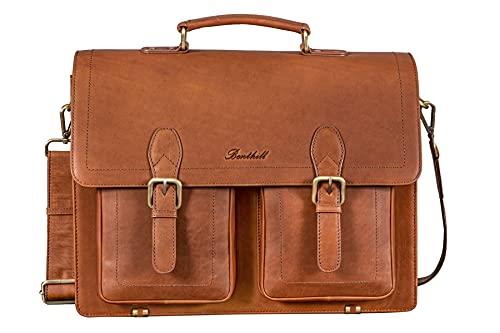 Benthill Maletín de piel auténtica para profesores, bolso bandolera, bolso de piel para negocios, bolso de trabajo para hombre, marrón, talla única,