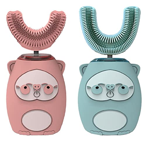perfeclan 2-Pack Children Kids U-shaped Electric Toothbrush Teeth Cleaner Oral Cleaning IPX7 3 Modes