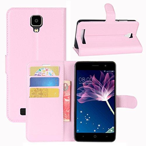 HualuBro Doogee X10 Hülle, [All Aro& Schutz] Premium PU Leder Leather Wallet HandyHülle Tasche Schutzhülle Flip Hülle Cover für Doogee X10 Smartphone (Pink)
