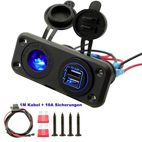 LED Zigarettenanzünder beide USB Buchsen 5V 4.8A Auto KFZ Steckdose für Wohnmobil Boot Motorboot Wohnwagen Motorrad Camper USB Adapter Wasserdicht 12v-24V Blau(Kabel 10A Sicherungen)
