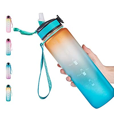 32oz Leakproof Free Drinking Water Bottle with Motivational Time Marker BPA Free for Fitness, Gym and Outdoor Sports (Orange/Green Gradient)