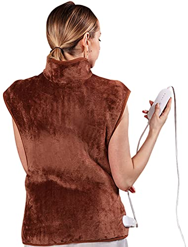 """Zircon Electric Heating Pad for Neck and Shoulders, XX-Large Heating Pad for Back Pain with Auto Off, 4 Temperature Settings, Fast Heating, 24"""" x 33"""", Brown"""