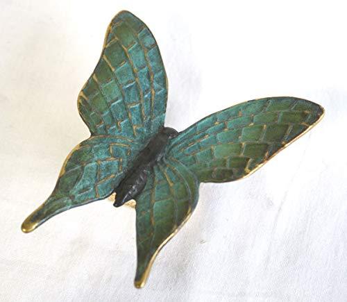 H. Packmor GmbH Bronzeskulptur grüner Schmetterling Käfer Mauerdeko Blumendeko Gartenfigur 12x3x11 cm