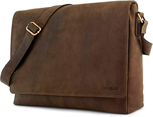 LEABAGS Oxford Umhängetasche Leder Laptoptasche 15 Zoll aus echtem Büffel-Leder im Vintage Look, (LxBxH): ca. 38x10x31 cm - Braun Like Sugar