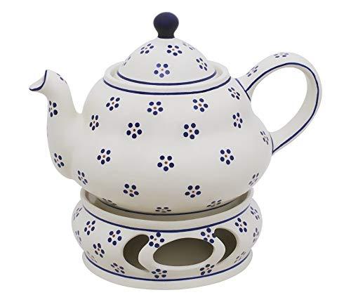 Original Bunzlauer Keramik Teekanne 2,0 Liter mit integriertem Sieb und Stövchen im Dekor 1