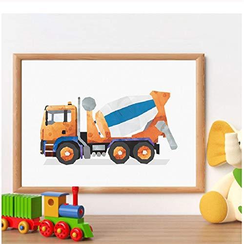 Modulaire kunst canvas schilderij cement mixer kwekerij foto's nordic poster voor jongen kamer thuis muur decor40x60cm-40x60cm geen frame