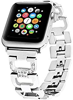 Bling Bands Compatible Apple Watch Band 38mm 42mm Stainless Steel Metal Replacement Wristband Sport Strap Iwatch Nike+, Series 3, Series 2, Series 1, Sport, Edition, 2 Colors (Silver, 38mm)