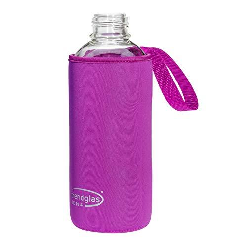 Trendglas Jena Flaschenhülle/Neopren-Schutzhülle/Thermohülle, violett - für Glasflasche, 1000 ml