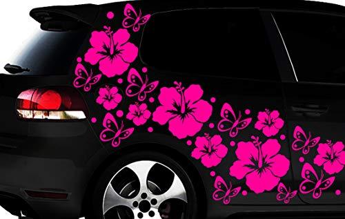 HR-WERBEDESIGN 108-teiliges Auto Aufkleber Hibiskus Blumen Schmetterlinge Hawaii WANDTATTOO l3p