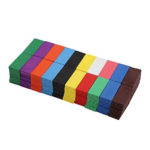 Atyhao Bloques de dominó, 100 Piezas Bloques de dominó de Madera Bloque de construcción Juego de dominó de Madera Bloques de construcción Juego de Azulejos de Carrera Juguetes educativos
