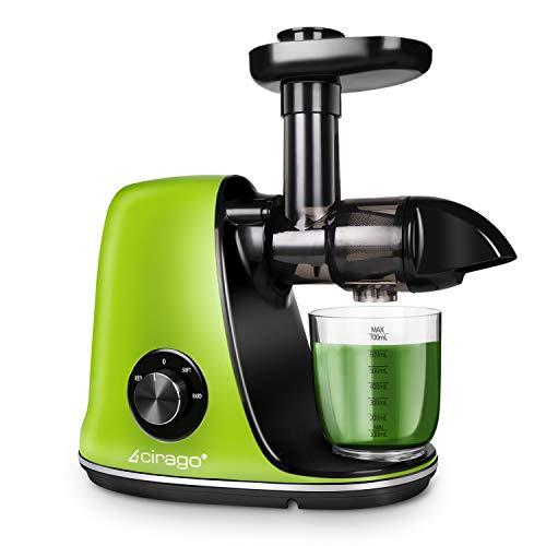Cirago Entsafter Maschinen, langsam Mastizierender Entsafter mit zwei Geschwindigkeitsstufen, leicht zu reinigen, leiser Motor, Kaltpress-Saftpresse für Gemüse und Obst, BPA-frei grün