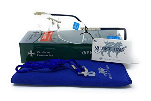 Gafas de lectura al aire Premium en Colores: Negro, Azul. VENICE air - Dioptrías: 1 a 3,5 (Azul, 2,50)