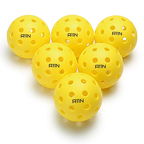 A11N Premium 40 Holes Outdoor Pickleball Balls, Durable Ball with Nice Bounce, Special Design for Outdoor Courts (6 &12 Packs Available)- Bright Yellow
